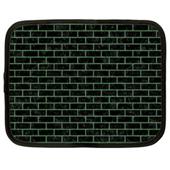 Brick1 Black Marble & Green Denim (r) Netbook Case (xxl)  by trendistuff