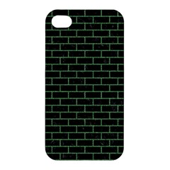 Brick1 Black Marble & Green Denim (r) Apple Iphone 4/4s Hardshell Case by trendistuff