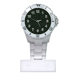 Brick1 Black Marble & Green Denim (r) Plastic Nurses Watch by trendistuff