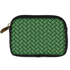 Brick2 Black Marble & Green Denim Digital Camera Cases by trendistuff