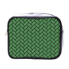 Brick2 Black Marble & Green Denim Mini Toiletries Bags by trendistuff