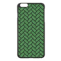 Brick2 Black Marble & Green Denim Apple Iphone 6 Plus/6s Plus Black Enamel Case