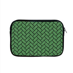 Brick2 Black Marble & Green Denim Apple Macbook Pro 15  Zipper Case by trendistuff