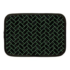 Brick2 Black Marble & Green Denim (r) Netbook Case (medium)  by trendistuff