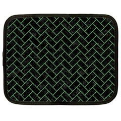 Brick2 Black Marble & Green Denim (r) Netbook Case (large) by trendistuff