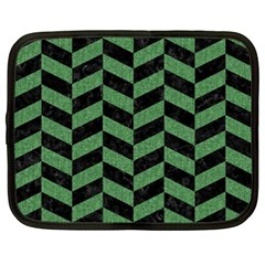 Chevron1 Black Marble & Green Denim Netbook Case (xxl)  by trendistuff