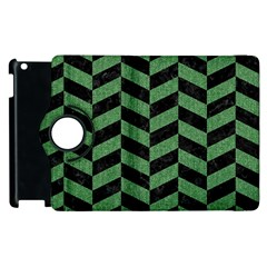 Chevron1 Black Marble & Green Denim Apple Ipad 3/4 Flip 360 Case by trendistuff
