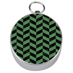 Chevron1 Black Marble & Green Denim Silver Compasses by trendistuff