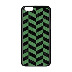 Chevron1 Black Marble & Green Denim Apple Iphone 6/6s Black Enamel Case by trendistuff