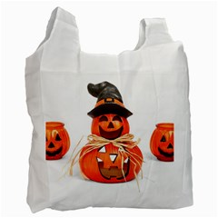 Funny Halloween Pumpkins Recycle Bag (two Side)  by gothicandhalloweenstore
