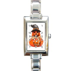 Funny Halloween Pumpkins Rectangle Italian Charm Watch by gothicandhalloweenstore