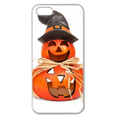 Funny Halloween Pumpkins Apple Seamless Iphone 5 Case (clear) by gothicandhalloweenstore