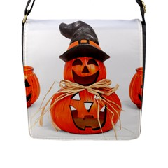 Funny Halloween Pumpkins Flap Messenger Bag (l)  by gothicandhalloweenstore