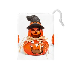 Funny Halloween Pumpkins Drawstring Pouches (medium)  by gothicandhalloweenstore