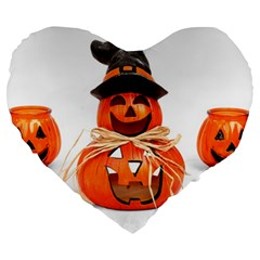 Funny Halloween Pumpkins Large 19  Premium Flano Heart Shape Cushions by gothicandhalloweenstore