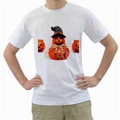 Funny Halloween Pumpkins Men s T Shirt (white) (two Sided) by gothicandhalloweenstore