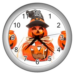 Funny Halloween Pumpkins Wall Clocks (silver)  by gothicandhalloweenstore
