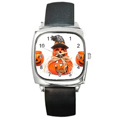 Funny Halloween Pumpkins Square Metal Watch by gothicandhalloweenstore