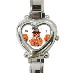 Funny Halloween Pumpkins Heart Italian Charm Watch by gothicandhalloweenstore