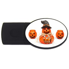 Funny Halloween Pumpkins Usb Flash Drive Oval (4 Gb) by gothicandhalloweenstore