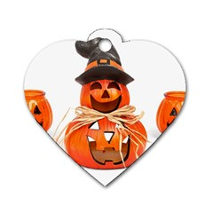 Funny Halloween Pumpkins Dog Tag Heart (two Sides) by gothicandhalloweenstore