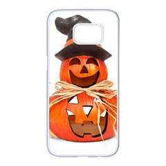 Funny Halloween Pumpkins Samsung Galaxy S7 Edge White Seamless Case by gothicandhalloweenstore