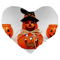 Funny Halloween Pumpkins Large 19  Premium Heart Shape Cushions by gothicandhalloweenstore