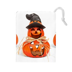 Funny Halloween Pumpkins Drawstring Pouches (large)  by gothicandhalloweenstore