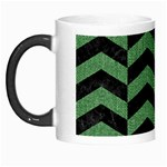 CHEVRON2 BLACK MARBLE & GREEN DENIM Morph Mugs Left