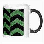 CHEVRON2 BLACK MARBLE & GREEN DENIM Morph Mugs Right