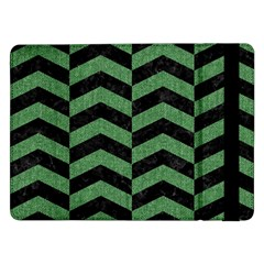 Chevron2 Black Marble & Green Denim Samsung Galaxy Tab Pro 12 2  Flip Case by trendistuff