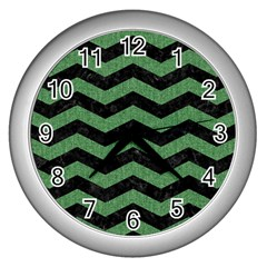 Chevron3 Black Marble & Green Denim Wall Clocks (silver)  by trendistuff