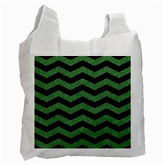 Chevron3 Black Marble & Green Denim Recycle Bag (one Side) by trendistuff