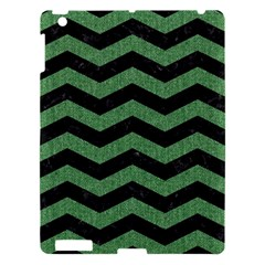 Chevron3 Black Marble & Green Denim Apple Ipad 3/4 Hardshell Case by trendistuff