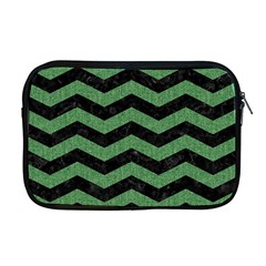 Chevron3 Black Marble & Green Denim Apple Macbook Pro 17  Zipper Case by trendistuff