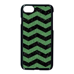 Chevron3 Black Marble & Green Denim Apple Iphone 8 Seamless Case (black) by trendistuff