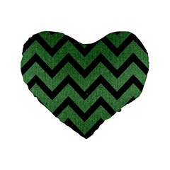 Chevron9 Black Marble & Green Denim Standard 16  Premium Flano Heart Shape Cushions by trendistuff