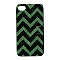 Chevron9 Black Marble & Green Denim (r) Apple Iphone 4/4s Hardshell Case With Stand by trendistuff