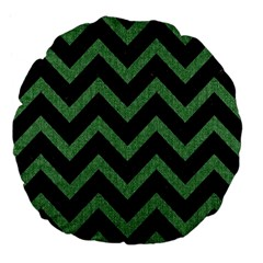 Chevron9 Black Marble & Green Denim (r) Large 18  Premium Flano Round Cushions by trendistuff