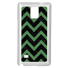 Chevron9 Black Marble & Green Denim (r) Samsung Galaxy Note 4 Case (white) by trendistuff