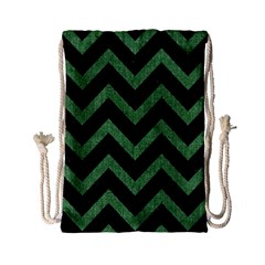 Chevron9 Black Marble & Green Denim (r) Drawstring Bag (small) by trendistuff