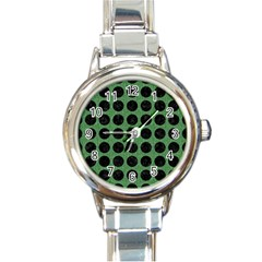 Circles1 Black Marble & Green Denim Round Italian Charm Watch