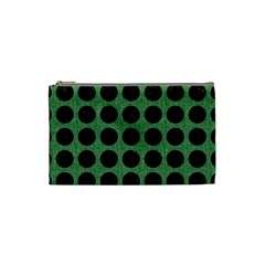 Circles1 Black Marble & Green Denim Cosmetic Bag (small)  by trendistuff
