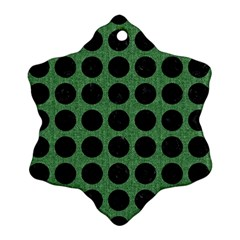 Circles1 Black Marble & Green Denim Snowflake Ornament (two Sides) by trendistuff