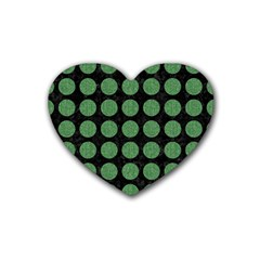 Circles1 Black Marble & Green Denim (r) Rubber Coaster (heart)  by trendistuff