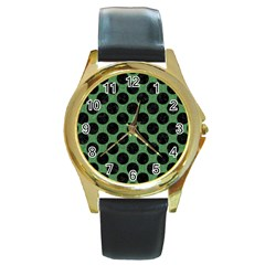 Circles2 Black Marble & Green Denim Round Gold Metal Watch by trendistuff