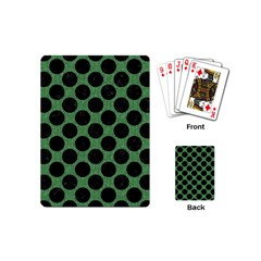 Circles2 Black Marble & Green Denim Playing Cards (mini)  by trendistuff