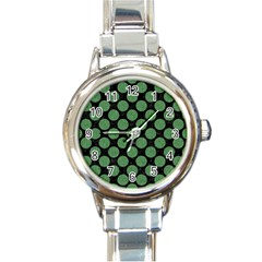 Circles2 Black Marble & Green Denim (r) Round Italian Charm Watch by trendistuff