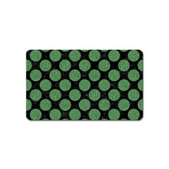 Circles2 Black Marble & Green Denim (r) Magnet (name Card) by trendistuff