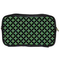 Circles3 Black Marble & Green Denim Toiletries Bags 2 Side by trendistuff